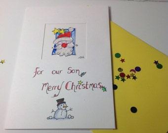 """Santa Card """" For our Son Merry Christmas"""" ,Santa Christmas card, Sons christmas card, male christmas card."""
