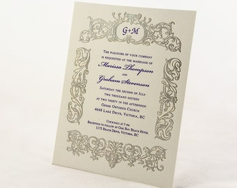 Silver and Purple Wedding Invitation. Monogrammed Wedding Card. Vintage Wedding Invite RETRO BELIEVE Suite. Sample