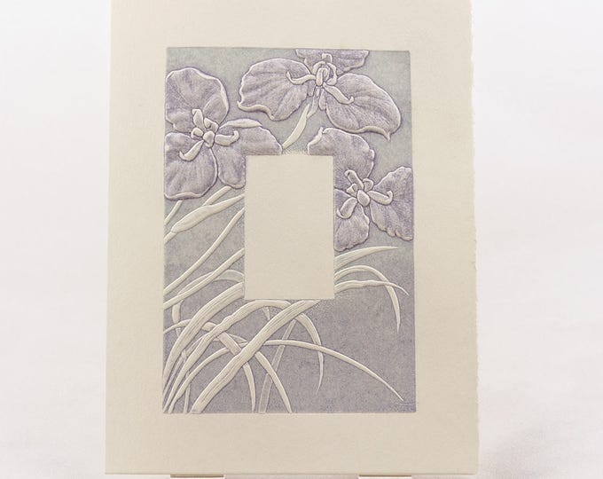 Purple Flowers Letterpress Card. Embossed Flower. Japanese Iris card. Blank inside.