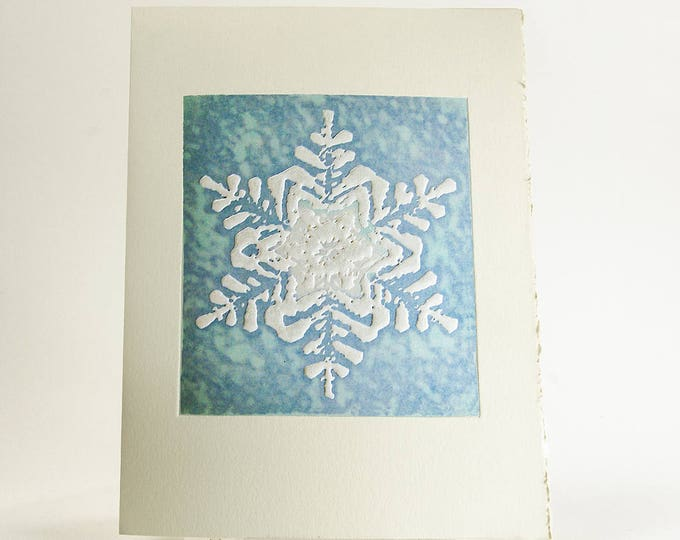 Snowflake Holiday Card Letterpress Christmas Card Snow card Blue card Everest Snowflake card Single card. Seasons Greetings or Blank Inside.