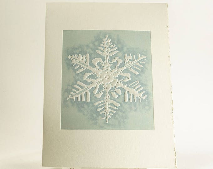 Mont Blanc Snowflake card Letterpress Christmas card Modern holiday card.Pack of 6 or Single card. Season's Greetings or Blank Inside.