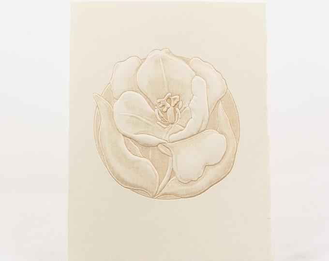 6 Tulip cards.Letterpress Flower Card.Embossed Flower card.Natural card.Setof 6 cards.Blank inside.
