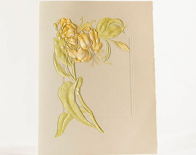 Lily Flower Letterpress Card. Embossed Flower Card for Mum. Wreath. Single card. Blank inside.