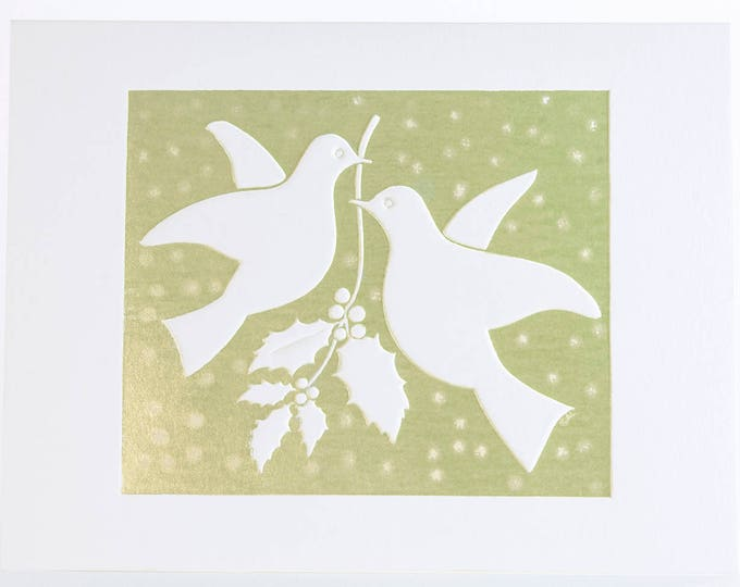 Christmas Doves Card. Embossed Christmas card Holly Christmas card. Single card. Blank inside.