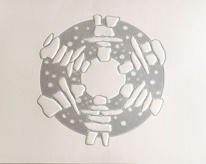 Silver Christmas Card. Wreath Holiday Card. Modern Christmas Card. Silver Inukshuk Dance card. Set of 6 or Single card. Blank inside.