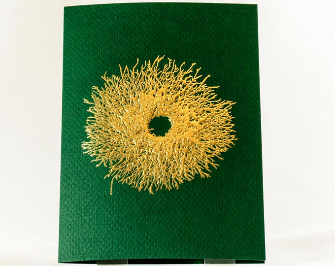 Gold Christmas Wreath Card. Wreath Holiday Card. Green Christmas Card. Single card. Blank inside.