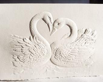 8 Swans Cards. Gift pack of cards. Stationery set. Embossed swan cards. Blank inside.