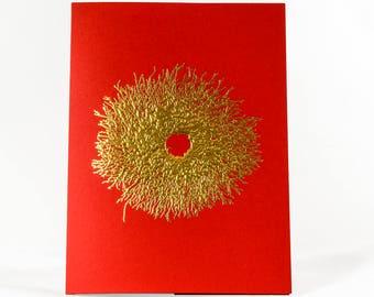 Gold Christmas Wreath Card. Wreath Holiday Card. Red Christmas Card. Single card or Set of 6 cards.Blank inside.