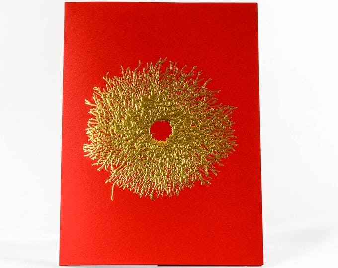 Gold Christmas Wreath Card. Wreath Holiday Card. Red Christmas Card. Single card or Set of 6 cards.Blank inside.