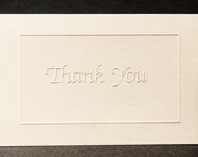 8 Thank You Card Set. White Thank You note. Stationery gift. Pack of 8 cards. Blank inside.