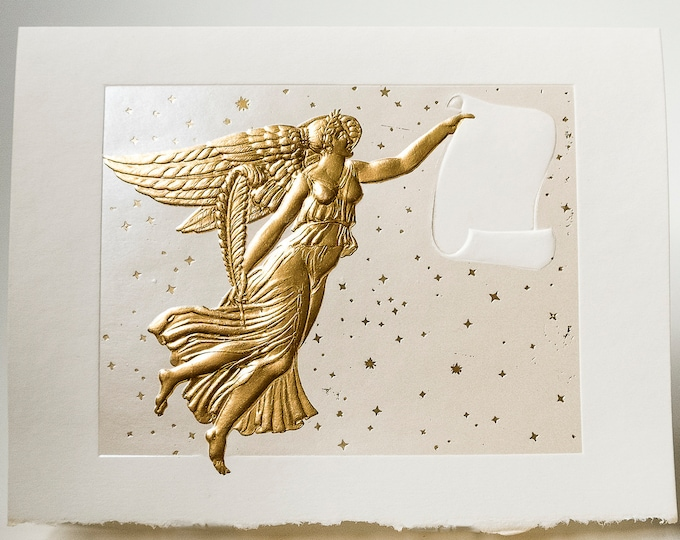 Gold Angel card Pearl Christmas Angel Embossed Holiday season card. Single card.  Blank inside.