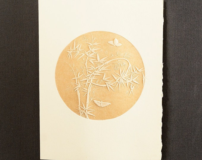 6 Bamboo and Butterflies cards.Letterpress cards.Plant cards. Set of 6 cards.Blank inside.