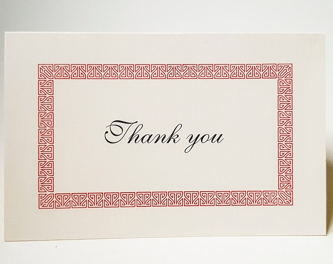 8 Thank You Card set Modern Thank You cards Red Greek Pattern card. Pack of 8 cards. Blank inside.