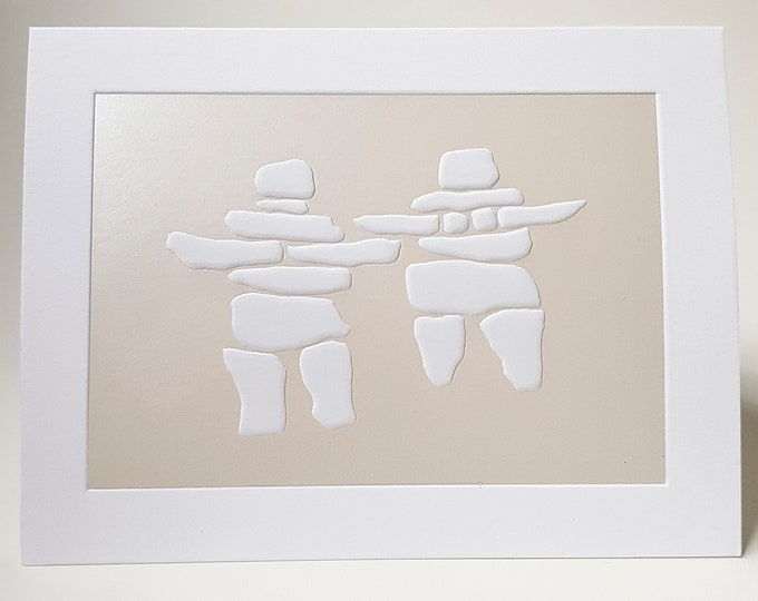 Couple Card Engagement card Letterpress Embossed Pearl foil card. Inukshuk Pair card. Single Card. Blank inside.