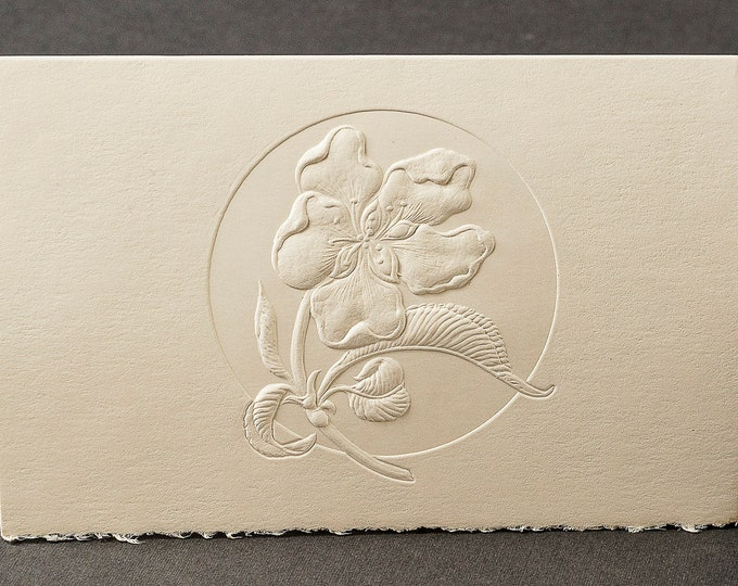 8 Peach Flower Cards. Embossed Floral cards.Botanical cards.Gift set. Blank inside.