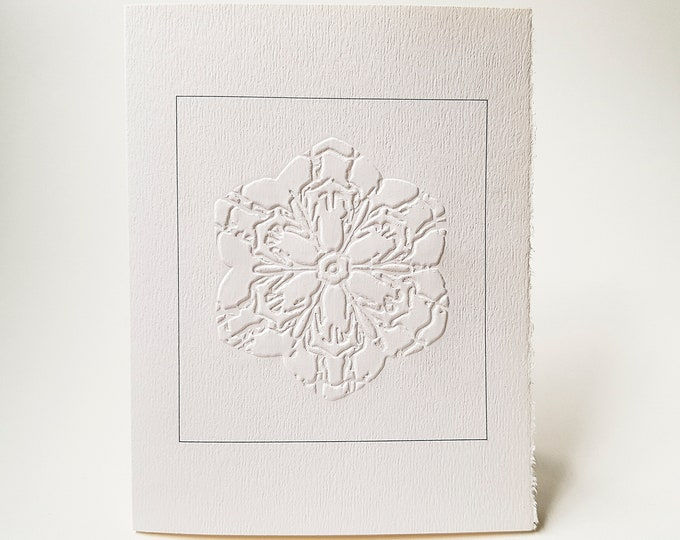6 Snowflake Embossed Cards Christmas card set Letterpress notecard set.  Blank inside.