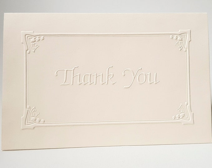 8 Embossed Thank You Card Set White Thank You note Pack of 8 cards. Lily of the Valley border card. Blank inside.