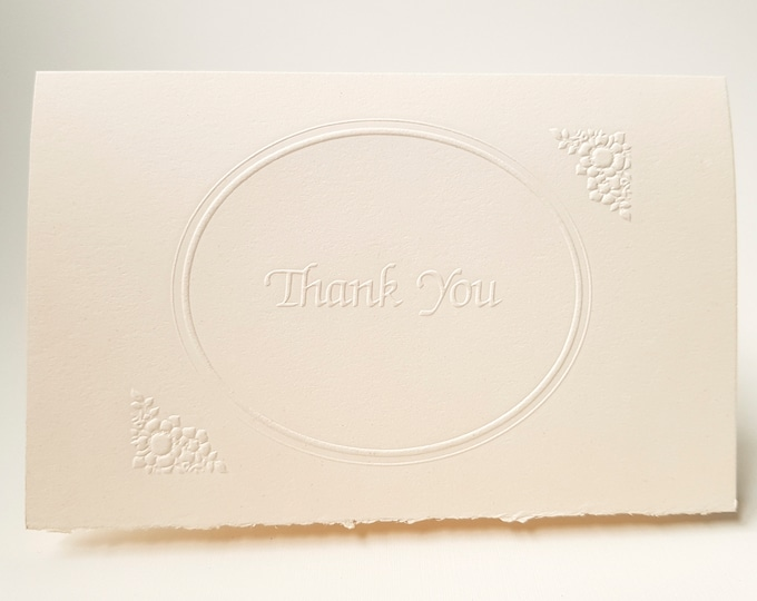 8 Embossed Thank You Card Set White Thank You note Pack of 8 cards. Ornate Oval border card. Blank inside.