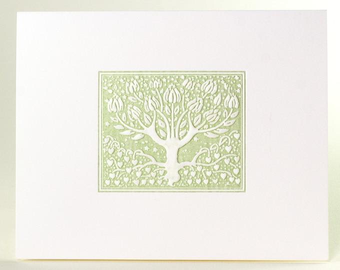 8 Green Tree Cards. Embossed card set. Botanical note card. Set of 8 cards Blank Inside
