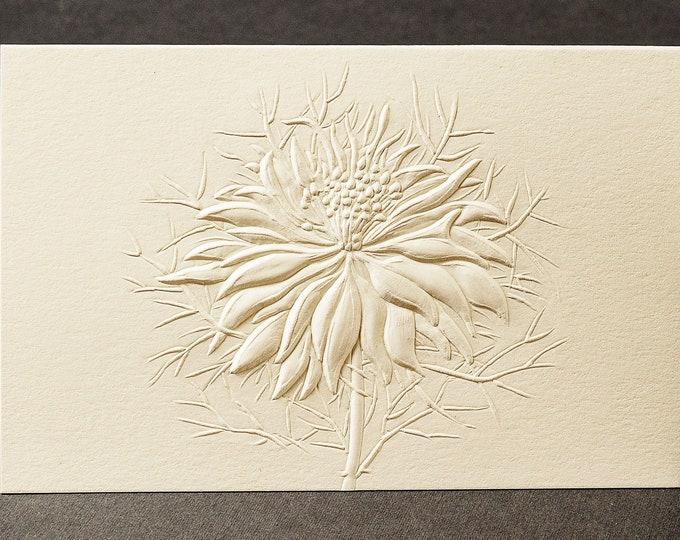 8 Embossed Flower Cards. Stationery gift. Floral cards. Botanical cards. Blank inside.