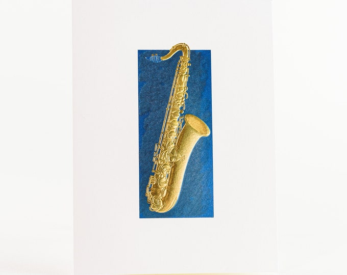 Saxophone Card.Gold foil card.Music embossed card.Pack of 6 cards or Single card. Gold saxophone in a blue frame card.