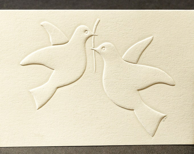 8 Doves in Love Cards.Stationery set. Embossed dove cards. Blank inside.