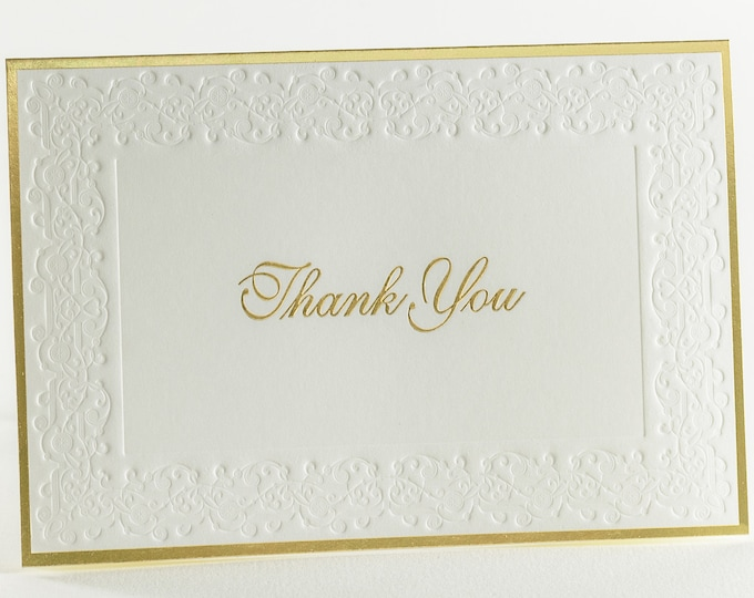 8 Embossed Thank You Card Set Gold foil Thank You notes Pack of 8 cards. Blank inside.