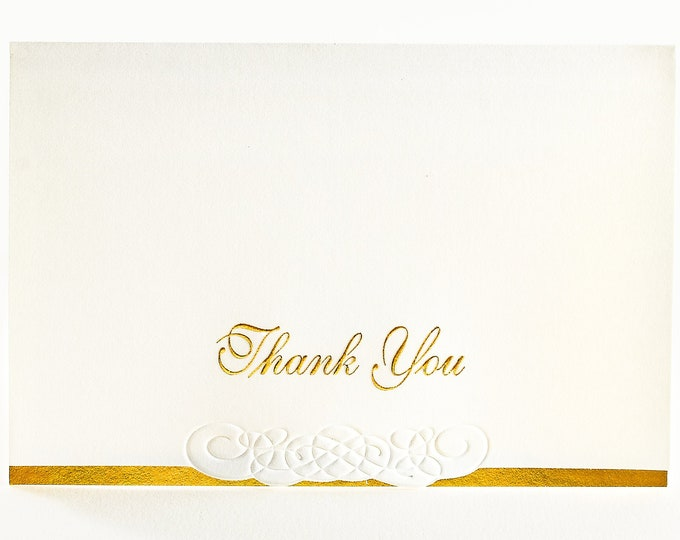 8 Gold Thank You Cards. Embossed Thank You notes Pack of 8 cards. Blank inside.