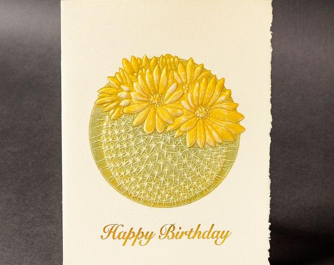 Cactus Birhday Card. Letterpress Birthday card. Gold birthday card. Single card.Blank inside.