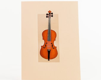 Violin Card.Music stationery.Violin note card.Pack of 6 cards or Single card. Folded card.