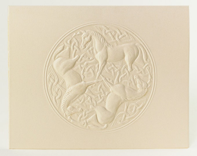 6 Celtic Horse Knot Embossed Cards. Letterpress Horse card. Stationery set. Valentine's Day cards. Blank inside.