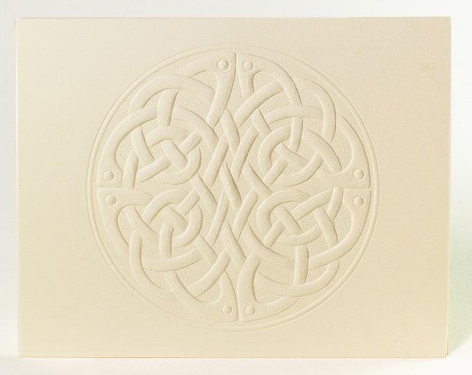 6 Celtic Round Knot Embossed Cards. Letterpress Knot card. Stationery set. Valentine's Day cards. Love cards. Blank inside.