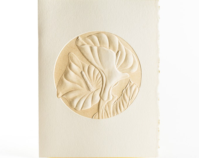 6 Calla Lily embossed Cards.Floral cards.Botanical cards.Set of 6 cards. Blank inside.