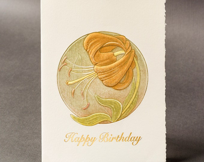 Letterpress Birthday card.Lily flower card. Golden birthday card. Single card.Blank inside.