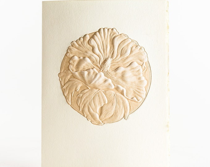 6 Hibiscus embossed cards.Letterpress Flower cards. Set of 6 cards.Blank inside.