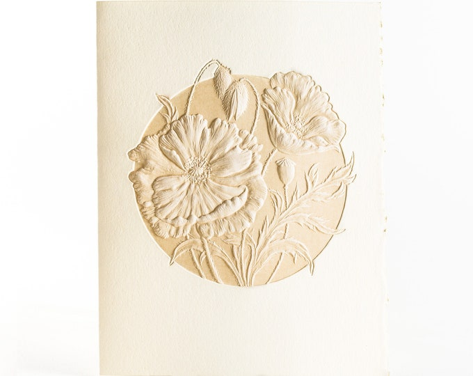 6 Poppy cards.Letterpress Flower cards.Set of 6 cards Embossed note cards. Blank inside.