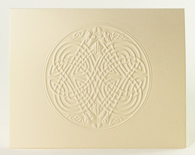 6 Celtic Eagle Knot Embossed Cards. Letterpress Knot card. Stationery set. Valentine's Day cards. Blank inside.