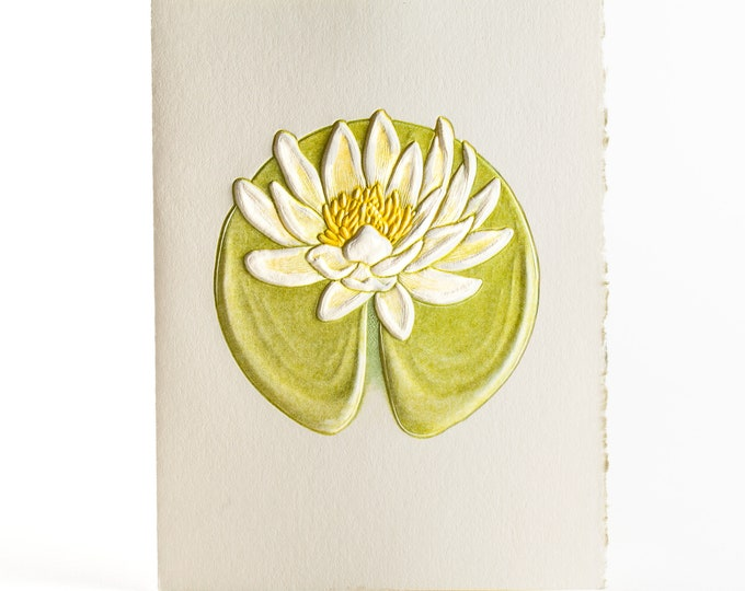 Water Lily Card.Embossed flower. Letterpress floral card. Pack of 6 cards or Single card. Blank inside.