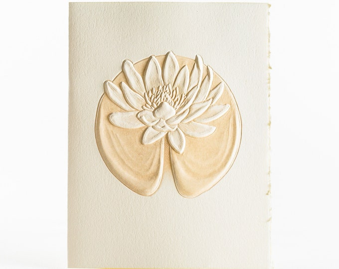 6 Water Lily Cards.Embossed floral cards.Botanical cards.Set of 6 cards. Blank inside.