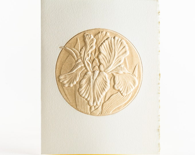 6 Iris Cards Flower Letterpress Set Floral card Embossed card pack of 6.Blank inside.