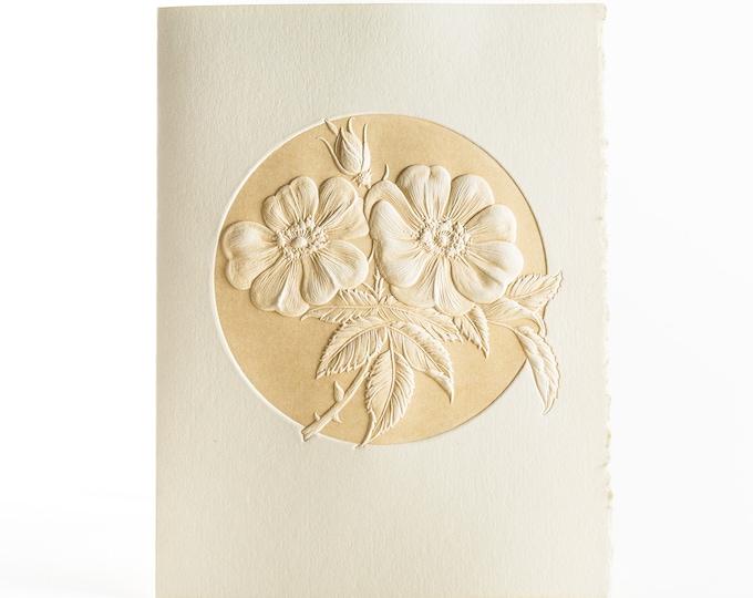 6 Wild Rose Cards.Embossed floral cards.Botanical cards.Set of 6 cards. Blank inside.