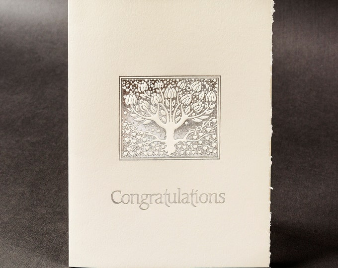 Silver Congratulations Card.Wedding Congratulations Card.Tree card.Single card. Blank inside.