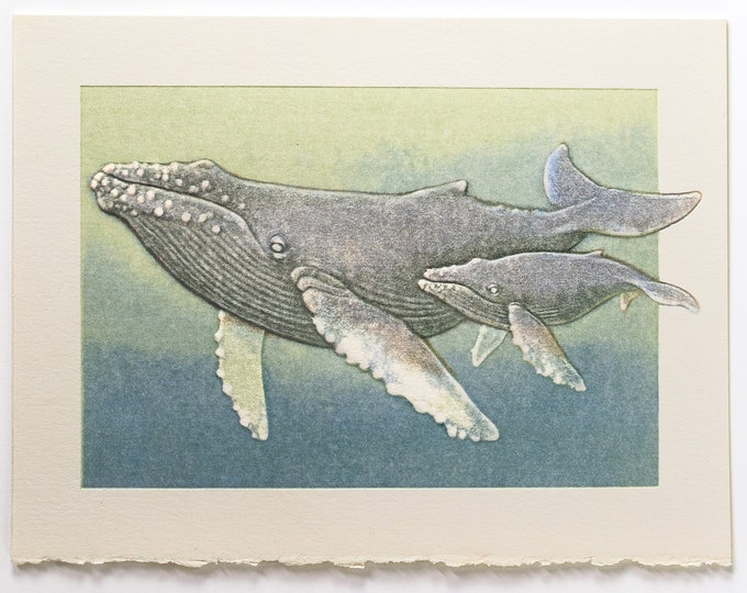 Humpback Whales Card. Mom and Kid card. Art card. Pack of 6 cards or Single card. Blank inside.