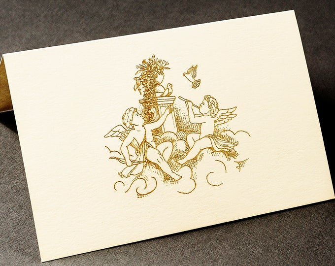 8 Christmas Angels Cards.Gold Christmas cards.Get well cards. Art cards. Blank inside.