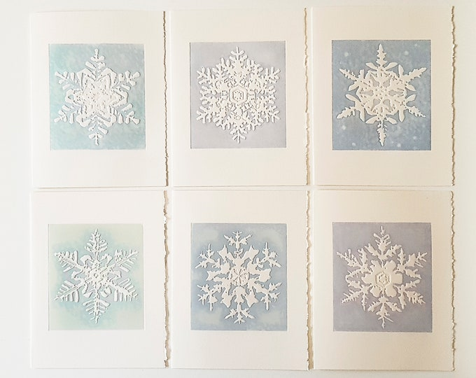 6 Snowflake Embossed Cards. Christmas card set.Assorted card set. Season's Greetings inside.