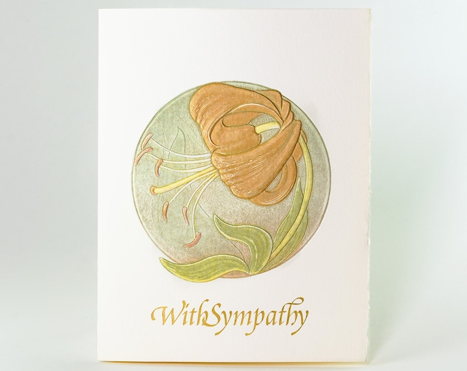 Sympathy Tiger Lily Card.Sad grief card.Comfort card.With Sympathy card.Single card or Set of 6 cards. Blank inside.