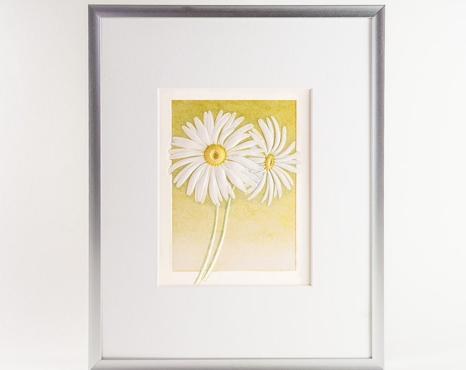 Daisies print.Floral Wall Decor.Floral Wall Art 8x10 Print.A4 Print.Ready to frame.Print with a mat.