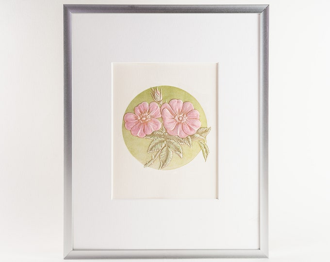 Wild Rose Matted Print.Floral Wall Decor.Floral Wall Art.Rose Art.Ready to frame.