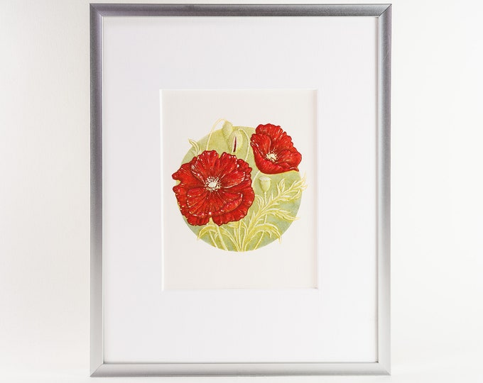 Poppy Matted Print.Floral Wall Decor.Floral Wall Art.8x10 Print.Ready to frame.