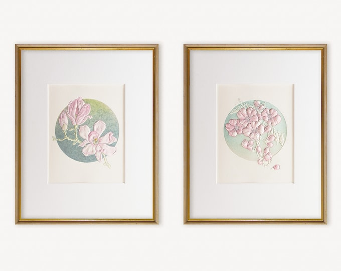 2 Blossom Prints Wall Decor.Floral Wall Art.8x10 Print.Magnolia and Plum Blossoms prints with mats..Ready to frame.